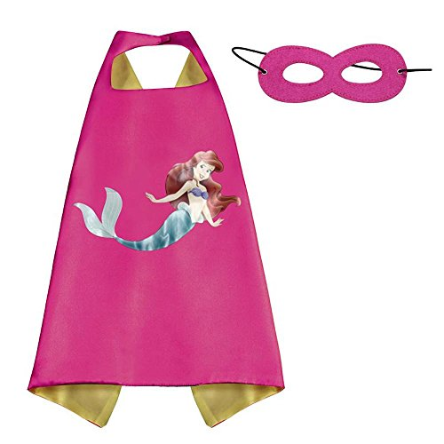 [Over 35+ Styles Superhero Halloween Party Cape and Mask Set for Kids (Little Mermaid)] (Little Girl Gypsy Costumes)