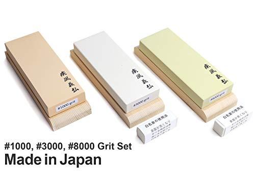 Yoshihiro Professional Grade Toishi Japanese Whetstone Knife Sharpener Water Stones 3PC SET: #1000, 3000, 8000