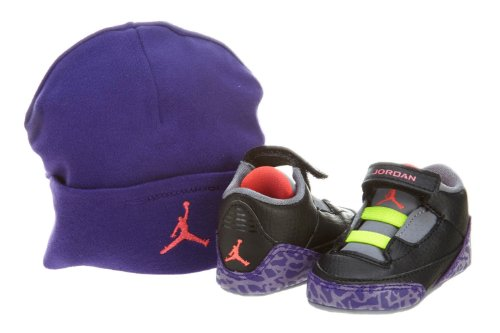 Nike Air Jordan 3 Retro Gift Pack Crib Shoe Size 4 and Hat (Black / Atomic Red / Cement Grey / Volt) 574416-039