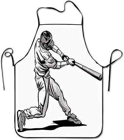 Bateador de béisbol de la cintura que se balancea en un lanzamiento rápido Atleta Deportista Delantal dibujado a mano Delantal de babero casero para mujeres Hombres Niña Niños Regalos Cocina Decoració
