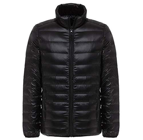 Black Lightweight Fit Solid Stand Jacket Down Men's Laisla Slim Quilted Clásico Outwear Long Jacket Jacket Collar Color Coat Ultra fashion Light Down with Down Sleeve Boy Size Coat Plus W1BOOqfc