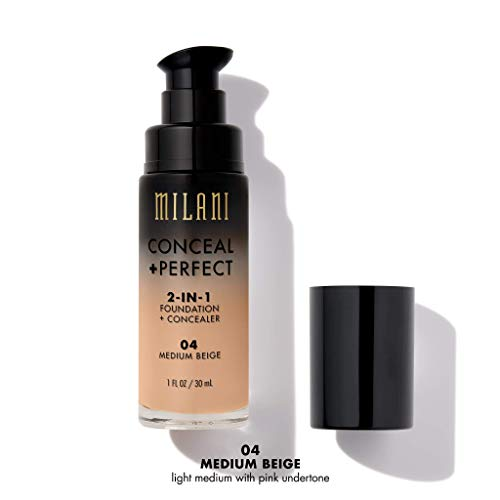 Milani Conceal + Perfect 2-in-1 Foundation + Concealer - Medium Beige (1 Fl. Oz.) Cruelty-Free Liquid Foundation - Cover Under-Eye Circles, Blemishes & Skin Discoloration for a Flawless Complexion