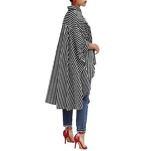 Donna In Colori A Bluse Elecenty Cotone Lunga Da Camicie Nero Top E Camicia Casual Tre Manica Righe wYB11nqp