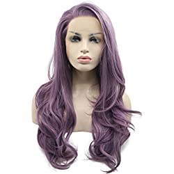 Morvally Fashion Purple Glueless Lace Front Wigs Free Part Natural Long Straight Wavy Hair Heat Resistant Synthetic Replacement Wig for Women