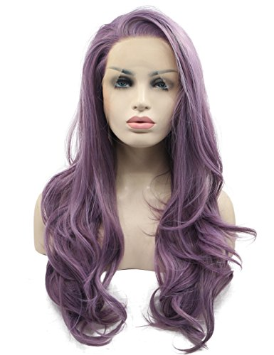 Morvally Fashion Purple Glueless Lace Front Wigs Free Part Natural Long Straight Wavy Hair Heat Resistant Synthetic Replacement Wig for (Celebrity Front Lace Wigs)