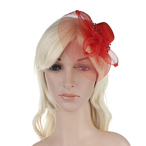 NCXHB Womens Top Hat Womens Charming Big Flower Headband Netting Mesh Hair Band Cocktail Hat Party Bride Boutique for Cocktail Party (Color : Red, Size : Free Size) ()