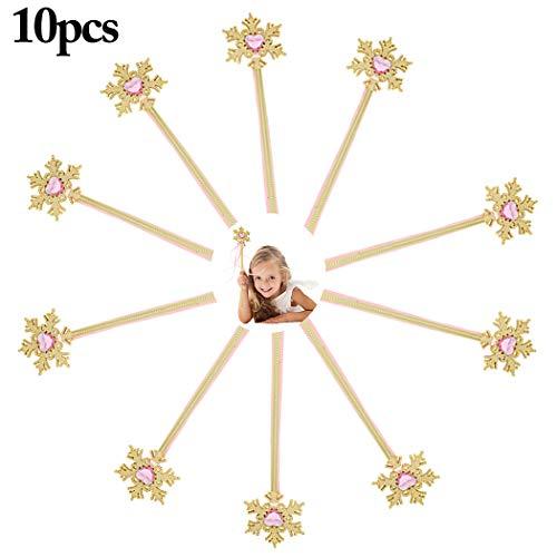 Joyibay 10PCS Kids Princess Wand Cute Snowflake Magic Fairy Wand Costume Wand for Girls]()