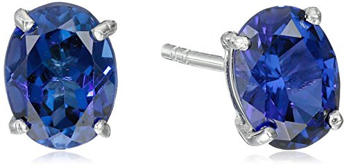 Created Sapphire Sterling Silver Earrings - 9