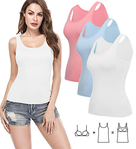 KIWI RATA Camisoles for Women with Built in Bra, Summer Sleeveless Shirt Casual, Padded Bra Women cami for Yoga, Wide Straps Tank Top 3 Pack Pink White Light Blue S