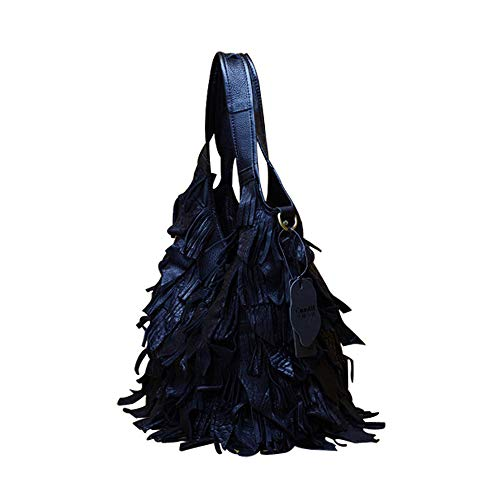 Genuine Tote Tassels Top Satchel with Style1 Hobo Vegasking Leather black Handbag Handle Oversized xTfOwqnnR
