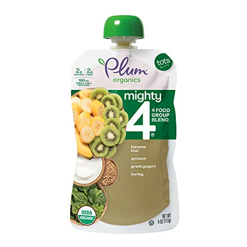 Plum Organics Mighty 4, Organic Toddler Food, Banana, Kiwi, Spinach, Kale, Greek Yogurt, Barley, and Oat, 4 ounce pouches (Pack of 12)  (Packaging May Vary)