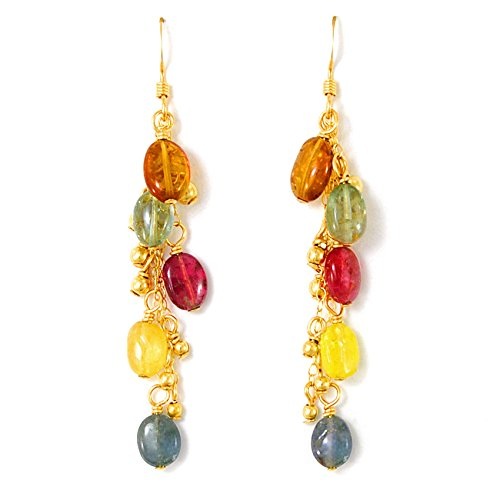 Tourmaline Chain Earrings with Spiral of 14K Gold Filled Beads; Artisan Crafted One of a (Gold Filled Chain Earrings)