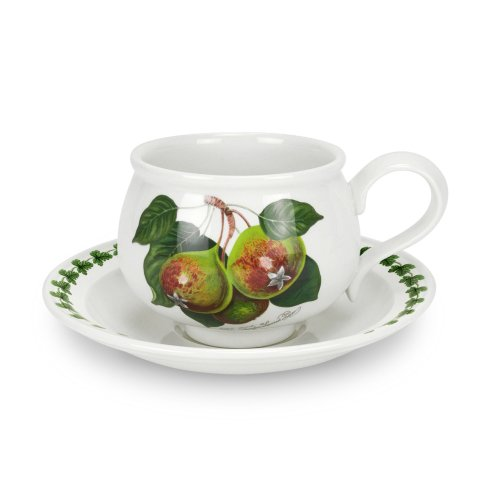 Portmeirion Pomona Romantic Shape Teacup and Saucer, Set of 6 Assorted (Hoary Morning Apple)