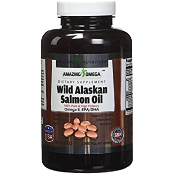 Amazing Omega Wild Alaskan Salmon Oil - 1000mg of Salmon Oil, 180 Softgels - Supports heart, joint & brain health and promotes healthy inflammatory response ...