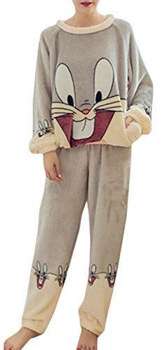 Gocgt Women's Long Sleeve Pajama Top & Plush Micro Fleece Pants Sleepwear Set 14 (Micro Fleece Plush Pants)