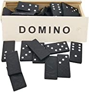Mini Double 6 Dominoes Game Set in a Wooden Box for Adults and Kids