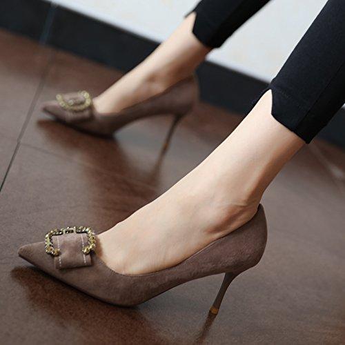 FLYRCX la stagione in primavera e stile in autunno, in stile e europeo femminile di testa scamosciata scarpe con tacchi alti, moda personalitagrave; scarpe eleganti,39,gray gray cde555