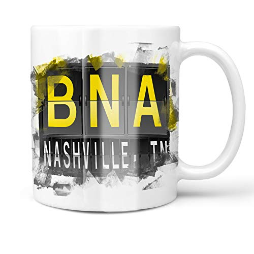 Neonblond 11oz Coffee Mug BNA Airport Code for Nashville, TN with your Custom Name