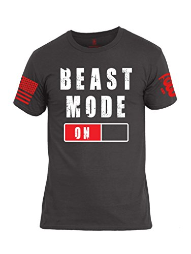 Chaos Beast Men - Battleraddle Beast Mode On Red Sleeve Print Mens Cotton Crew Neck T Shirt