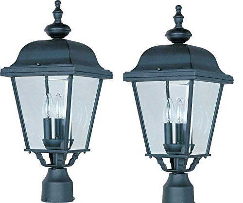 Maxim Builder Cast Aluminum Outdoor Post Lighting 9 by 24 Inch (Full Size, Black - 2 Pack)