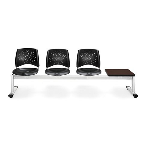 (OFM 324T-P-BLK-GY Stars 4-Unit Beam Seating with 3 Plastic Seats and 1)