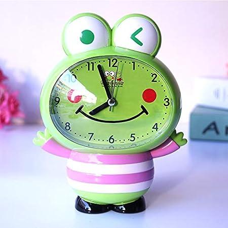 LTOOD Niños y niñas Relojes Lindos para el hogar Reloj Despertador para niños Dibujos Animados Hablando de la Moda Niños de Primaria, niños Rana de Frijol Mungo (Rosa)