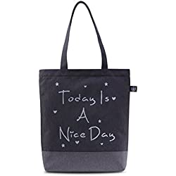 Vintga Women Tote Bag Purses Canvas Handbag Handle Bag Shoulder Bag (Black,Today Is A Nice Day)