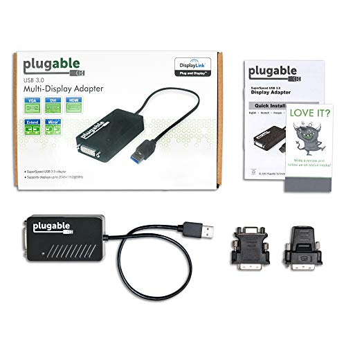 Plugable USB 3 0 to HDMI/DVI/VGA Video Graphics Adapter for Multiple  Monitors up to 2048x1152 / 1920x1080 (Supports Windows 10, 8 1, 7, XP)