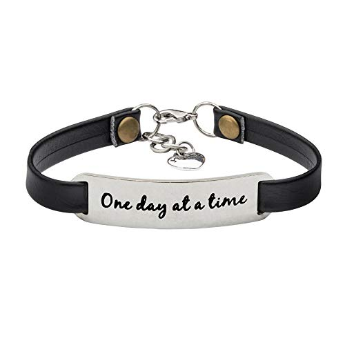 UNQJRY Sobriety Bracelet Recovery Jewelry Addition Gifts for Women Inspirational Leather Wrap Bangle One Day at a time ()