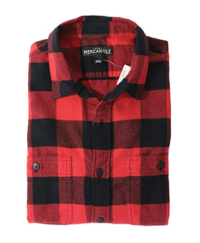 J.Crew Mercantile Men's Slim-Fit Long-Sleeve Buffalo Check Flannel Shirt, red/Black, L ()