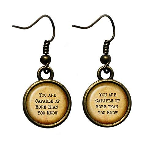 (Wizard of OZ Glinda the Good Witch You are Capable of More than you Know Antique Bronze Earrings)
