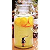 Circleware St. Louis Glass Beverage Drink Dispenser with Locking Glass Hermetic Lid, 1 Gallon