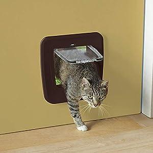 Global Puerta gatera Color marrón | Entrada para Gatos Access 4-Way | Puerta para Gatos