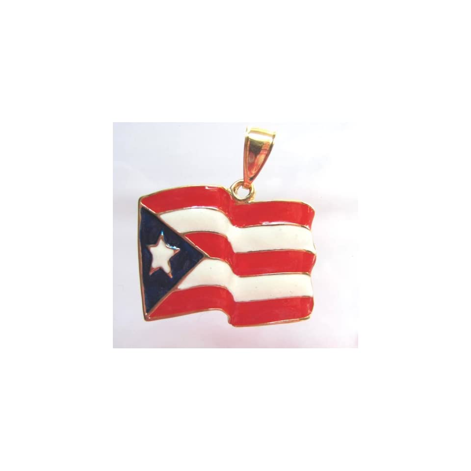 14kt Overlay Puerto Rico Flag Pendant Big Huge Charm 1 X 1.5 Inches Jewelry