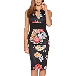 Fantaist Women's Patchwork Floral Print Formal Business Party Wear to Work Dress (M