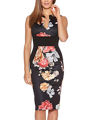 chwork Floral Print Formal Business Party Wear to Work Dress (M, FT601-Black) ()