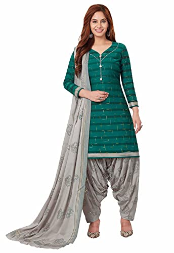 Miraan Women Cotton Unstitched Dress Material (BANDCOL810, Green, Free Size)
