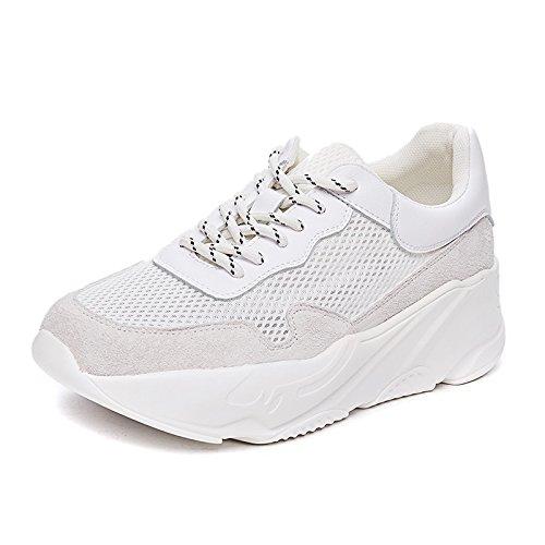 NGRDX&G Malla Deportiva Zapatos Mujeres Gruesas Fondo Hueco Zapatos De Malla Transpirable Zapatos Para Correr Zapatos De Mujer White