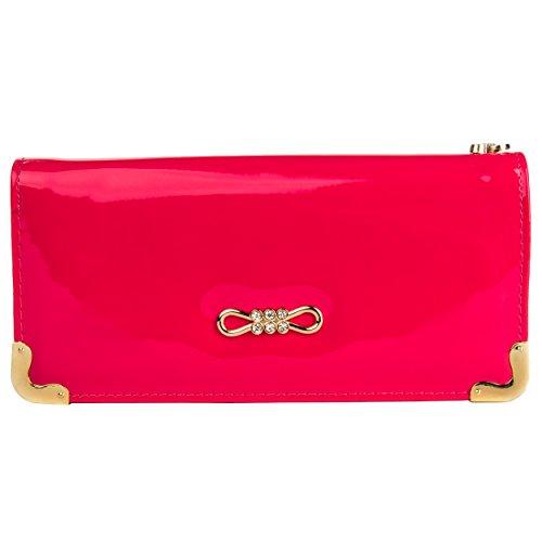 VanGoddy Tory Glossy Strawberry Pink Wallet Clutch