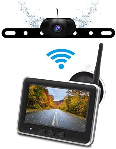 Wireless Backup Camera Monitor Kit,IP68 Waterproof License Plate Reverse Rear View Back Up Car Camera,4.3 TFT LCD Rear View Monitor for Cars, SUV Accfly