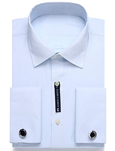 (Alimens & Gentle Contrast Collar Solid Color French Cuff Regular Fit Dress Shirts(Size:15.5