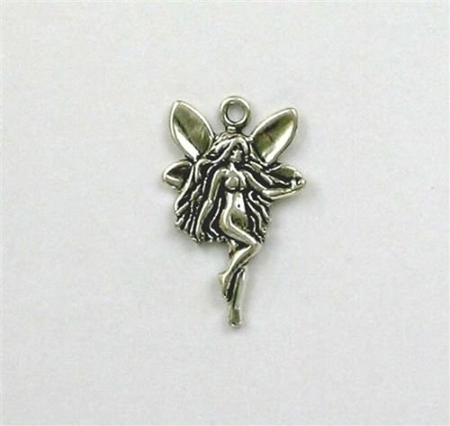 Sterling Silver 25mm Fairy Charm - Jewelry Accessories Key Chain Bracelet Necklace Pendants
