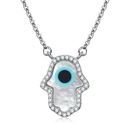 (Kaletine Hamsa Hand Pendant Necklace Sterling Silver 925 Mother of Pearl Shell Cable Chain 16