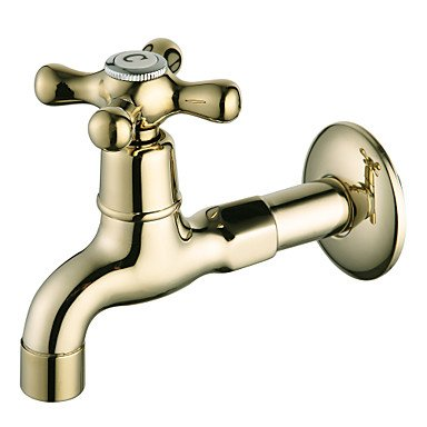 BiuTeFang Basin Tap Ti-PVD Finish Wall-Mount Antique Style Brass Bathroom Sink Faucets (Washing Machine Faucets) Bathroom Faucet Basin Mixer ()