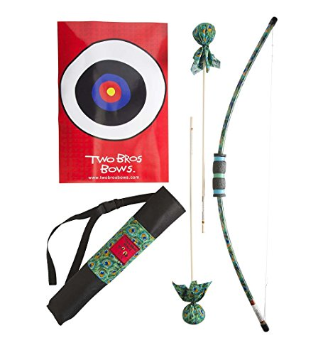 Two Bros Bows Kid's Padded Bow and Arrow Archery Set - Outdoor Play Toys - Includes 2 Safe, Padded Arrows, Quiver, Target and Storage Bag - Bow Approx. 38''L - Peacock