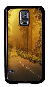 Fog forest road Custom Samsung Galaxy S5/Samsung S5 Case Cover Polycarbonate Black