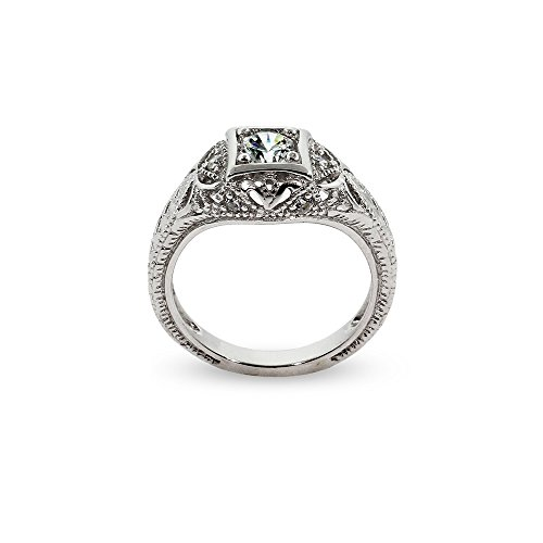 Women's Sterling Silver CZ Vintage Deco Style Engagement Ring, Sizes 5 to 9 by Eve's Addiction (Image #1)