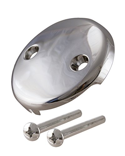 (Westbrass R329-05 3-1/8 in. Single Hole Overflow Face Plate and Screw, Without Trip Lever, Polished Nickel)