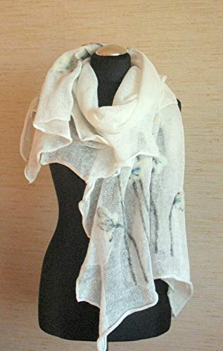 (Natural Linen Scarf Felted Wool Off White Poppy Shawl Scarf )