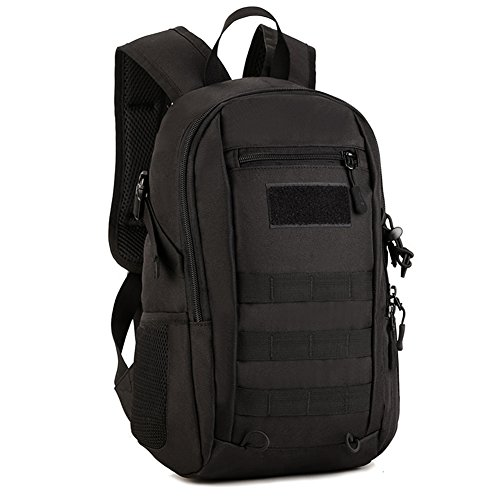 CREATOR 12L Mini Tactical Backpack Small Military Daypack Travel Camping Quilted Backpack Rucksack Tactical Backpack - Black
